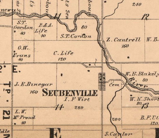 1865 Map of Randolph County showing the former town of Steubenville